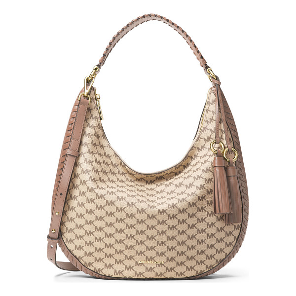 MICHAEL MICHAEL KORS Lauryn Large Logo-Print Shoulder Bag - MICHAEL Michael Kors logo-print PVC shoulder bag. Golden