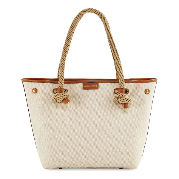 MICHAEL MICHAEL KORS Maritime Medium Canvas Beach Tote Bag - MICHAEL Michael Kors canvas tote bag with leather trim.