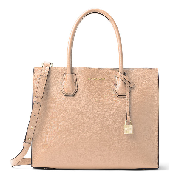 MICHAEL MICHAEL KORS Mercer Large Convertible Tote Bag - MICHAEL Michael Kors pebbled leather tote bag. Rolled top