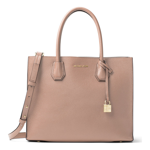 MICHAEL MICHAEL KORS Mercer Large Convertible Tote Bag - MICHAEL Michael Kors pebbled leather tote bag. Rolled top...