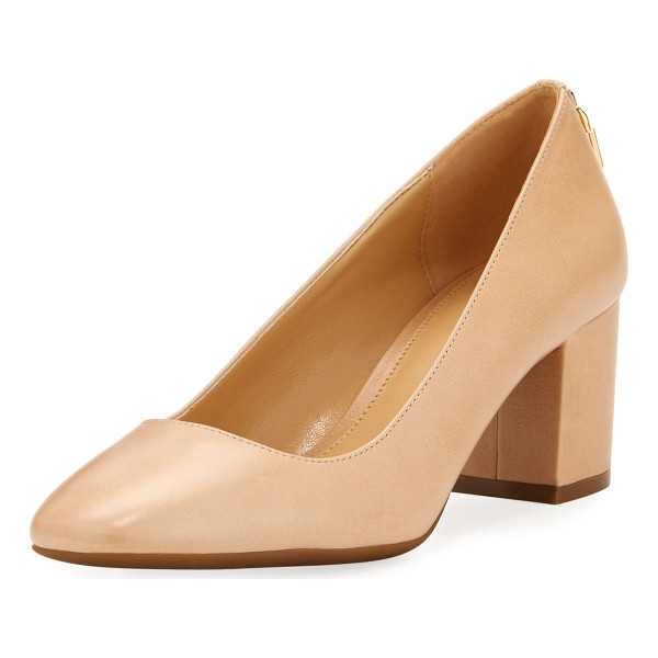 "MICHAEL MICHAEL KORS Mira Smooth Leather Pump - MICHAEL Michael Kors ""Mira"" smooth leather pump. Covered..."