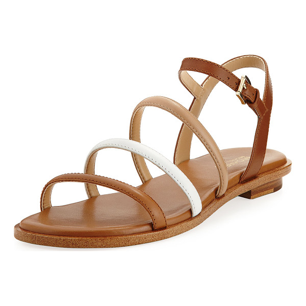 "MICHAEL MICHAEL KORS Nantucket Strappy Flat Sandal - MICHAEL Michael Kors ""Nantucket"" colorblock leather sandal...."