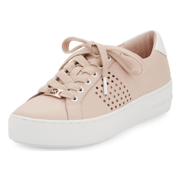 "MICHAEL MICHAEL KORS Poppy Perforated Leather Low-Top Sneaker - MICHAEL Michael Kors ""Poppy"" leather low-top sneaker with"