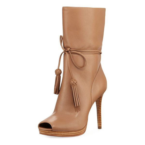 "MICHAEL MICHAEL KORS Rosalie Ankle-Wrap Open-Toe Bootie - MICHAEL Michael Kors leather bootie. 4.5"" stacked heel;..."