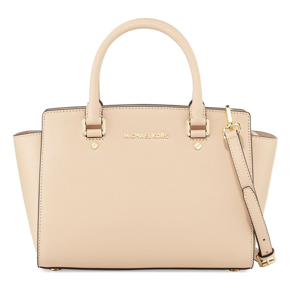 MICHAEL MICHAEL KORS Selma Medium Top-Zip Satchel Bag - MICHAEL Michael Kors saffiano leather satchel bag. Golden