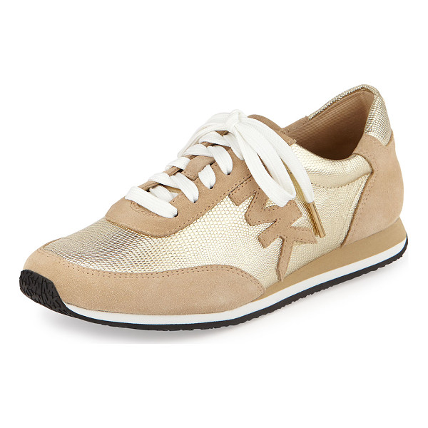 "MICHAEL MICHAEL KORS Stanton metallic leather trainer - Michael Kors trainer with suede and metallic upper. 0. 5""..."