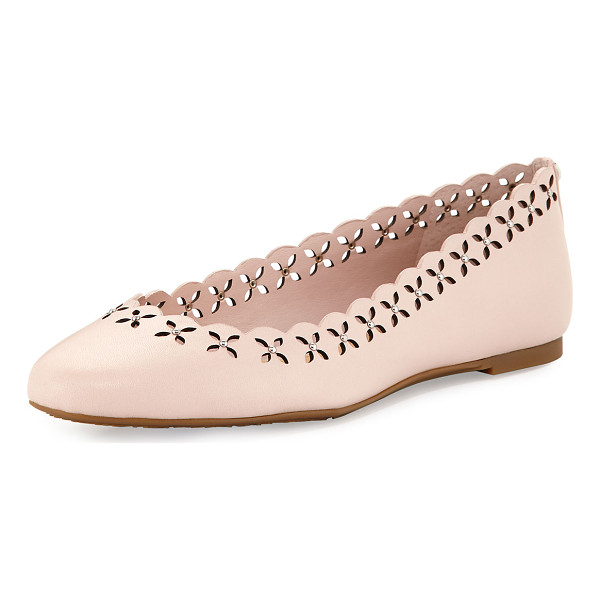 MICHAEL MICHAEL KORS Thalia Laser-Cut Leather Ballerina Flat - MICHAEL Michael Kors leather ballerina flat with studded...