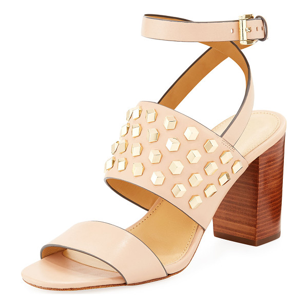 "MICHAEL MICHAEL KORS Valencia Studded Leather Sandal - MICHAEL Michael Kors ""Valencia"" smooth leather sandal with"