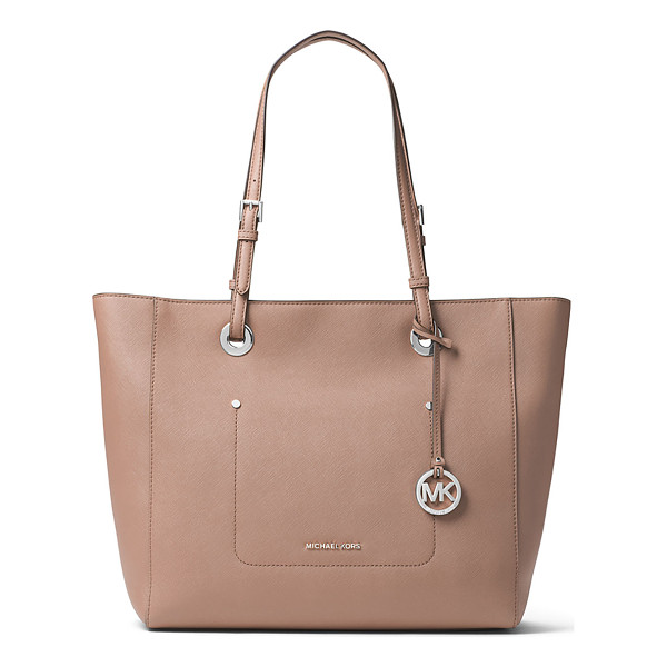 MICHAEL MICHAEL KORS Walsh Large East-West Top-Zip Tote Bag - MICHAEL Michael Kors saffiano leather tote bag. Silvertone