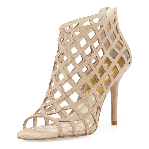 "MICHAEL MICHAEL KORS Yvonne suede cage bootie - - Khaki suede upper. Covered 3 1/2"" heel. Open toe. Cutout..."