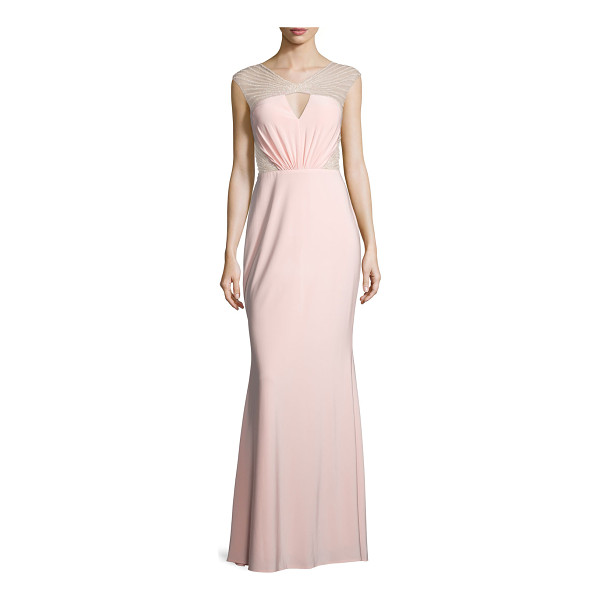MIGNON Cap-Sleeve Embellished-Inset Gown - Mignon jersey gown with beaded mesh detail. Approx....