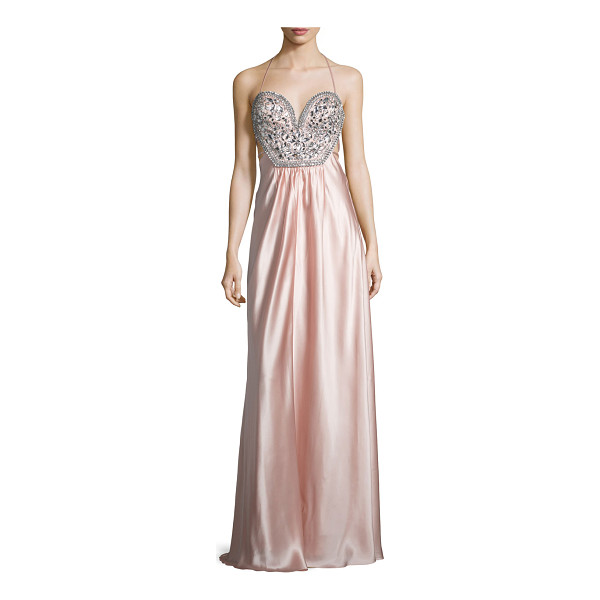 MIGNON Sleeveless Embellished-Bodice Gown - Mignon charmeuse gown with rhinestone embellishments....