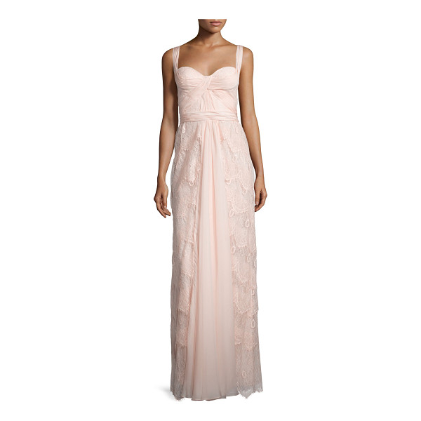 MIGNON Sleeveless sweetheart-neck layered lace dress - Mignon lace gown adorned with pleated, draped tulle....