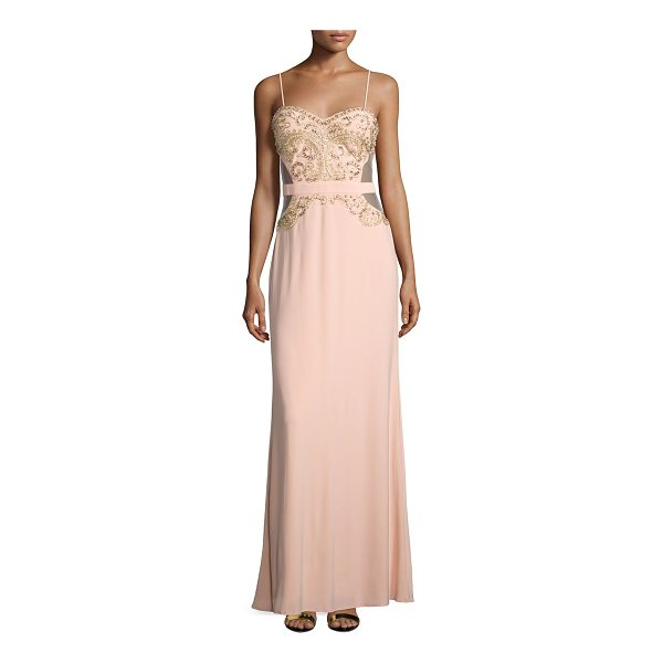 """MIGNON Sweetheart Embellished Gown - Mignon embellished gown with cutout back. Approx. 60""""L..."""