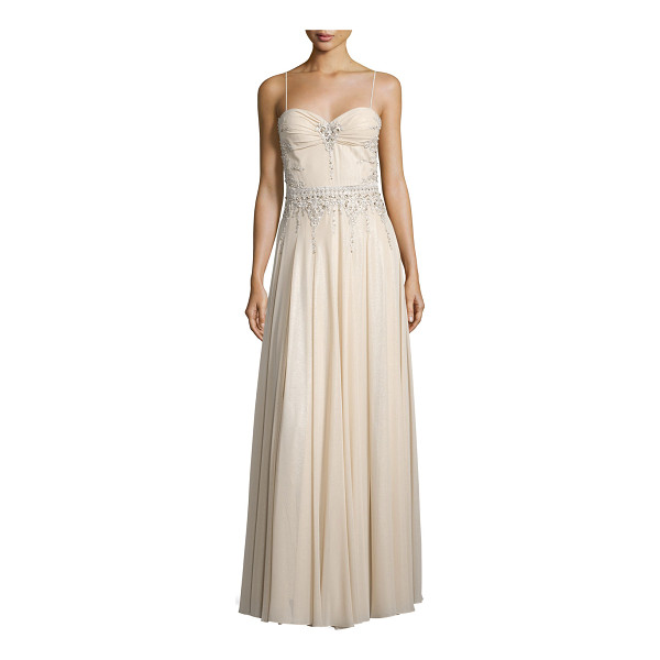 MIGNON Sweetheart-Neck Embellished Gown - Mignon chiffon gown with rhinestone embellishments. Approx....