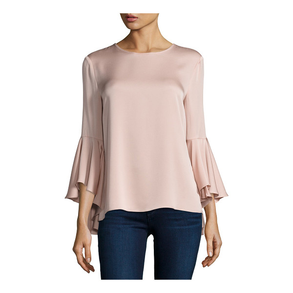 "MILLY 3/4-Bell-Sleeve Stretch-Silk Blouse - Milly stretch-silk blouse. Approx. 23.5""L from shoulder to..."