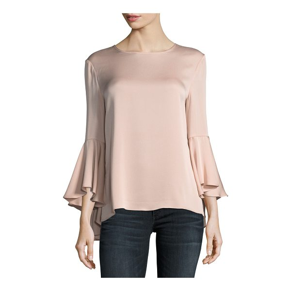 MILLY Long Bell-Sleeve Stretch-Silk Blouse - EXCLUSIVELY AT NEIMAN MARCUS Milly blouse in signature...