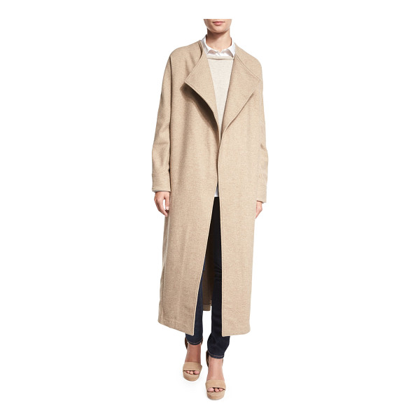 MISOOK COLLECTION Long Drama Coat - Misook Collection wool coat. Oversized shawl collar; open...