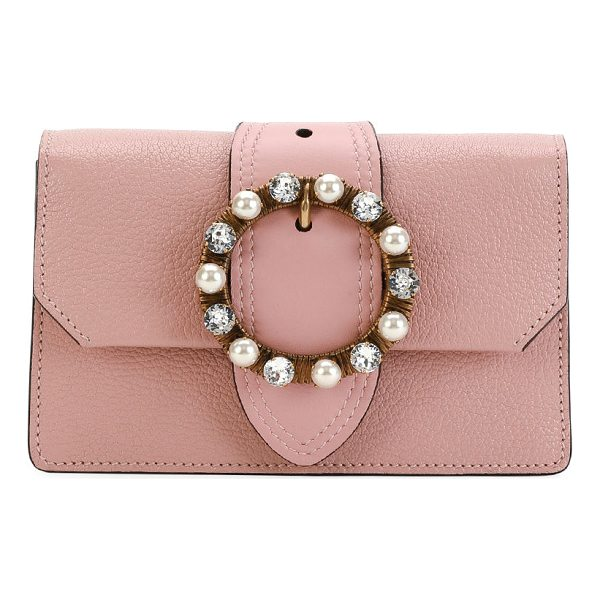 MIU MIU Madras Jewels Leather Buckle Clutch Bag - Miu Miu pebble-grain leather clutch bag from the Madras...