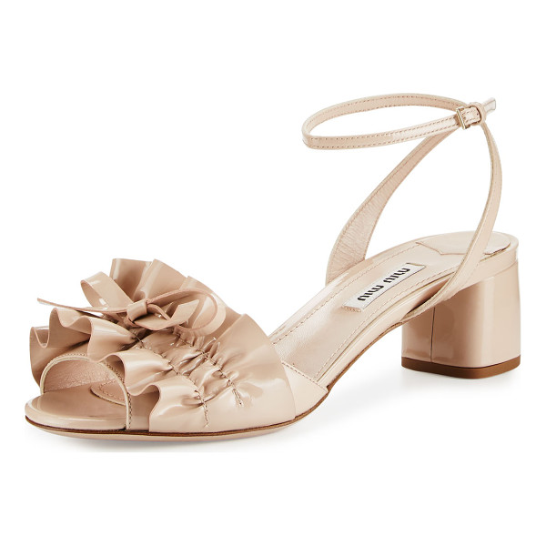 "MIU MIU Ruffled Patent 45mm Sandal - Miu Miu patent leather sandal. 1.8"" covered block heel...."