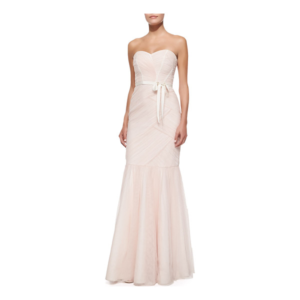 ML MONIQUE LHUILLIER BRIDESMAIDS Strapless ruched tulle gown - Ruched tulle gown by ML Monique Lhuillier. Approx....