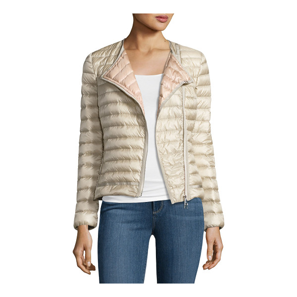 "MONCLER Amy Quilted Collarless Jacket - Moncler ""Amy"" moto-inspired jacket in channel-quilted tech..."