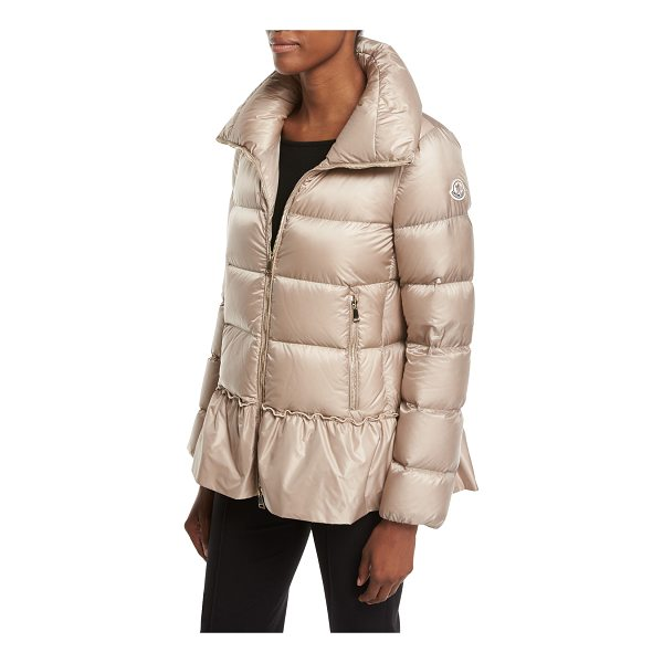 "MONCLER Anet Quilted Puffer Jacket - Moncler ""Anet"" quilted puffer jacket with ruffled trim...."