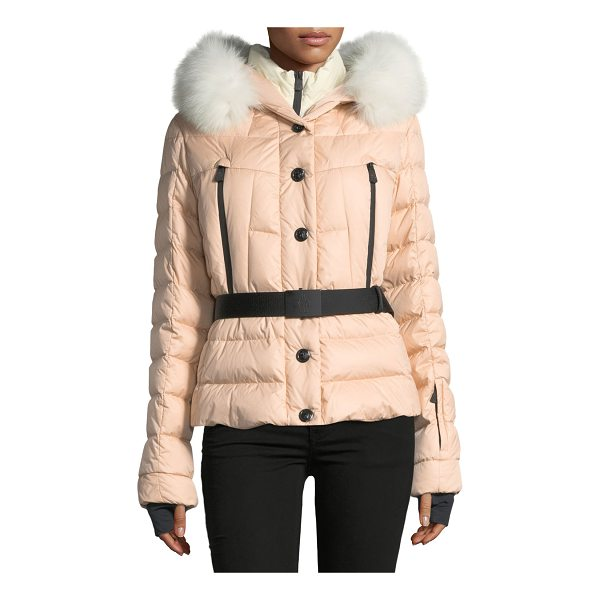 "MONCLER Beverly Belted Quilted Puffer Coat with Fur Hood - Moncler ""Beverly"" quilted puffer coat with padding...."