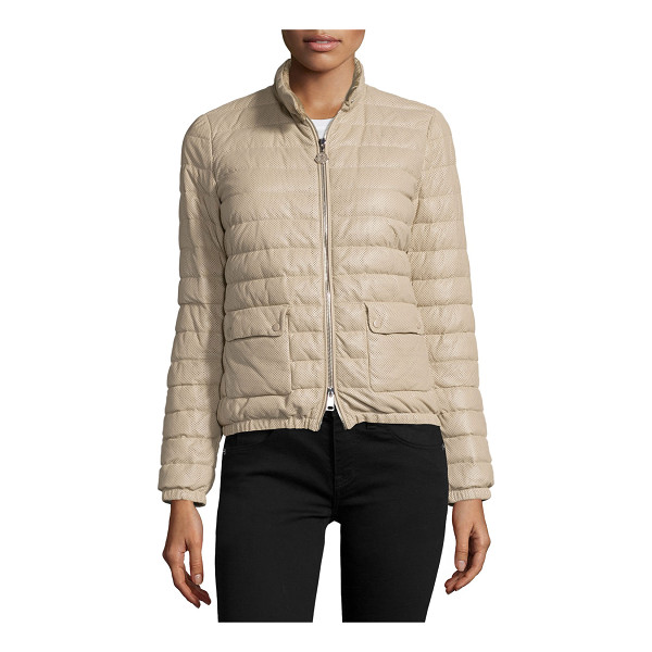 """MONCLER Delfi leather puffer jacket - Moncler """"Delfi"""" quilted puffer jacket in soft-to-handle..."""