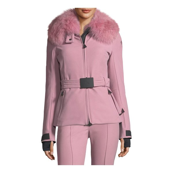 "MONCLER Ecrins Long-Sleeve Fur-Collar Jacket - Moncler ""Ecrins"" jacket in stretch-knit with dyed fox..."