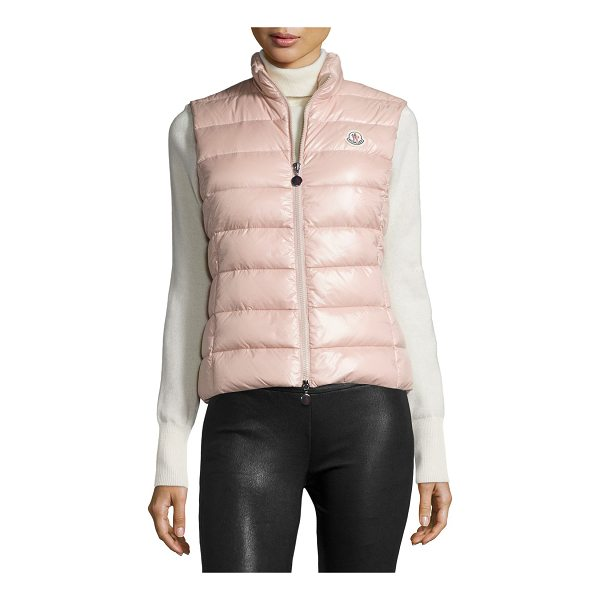 """MONCLER Ghany Shiny Quilted Puffer Vest - Moncler """"Ghany"""" shiny quilted puffer vest. High collar;..."""