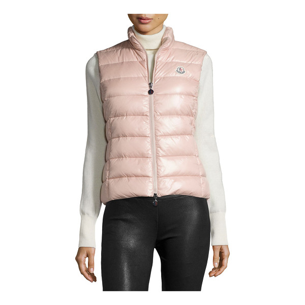 """MONCLER Ghany zip puffer vest - Moncler """"Ghany"""" shiny quilted puffer vest. High collar;..."""