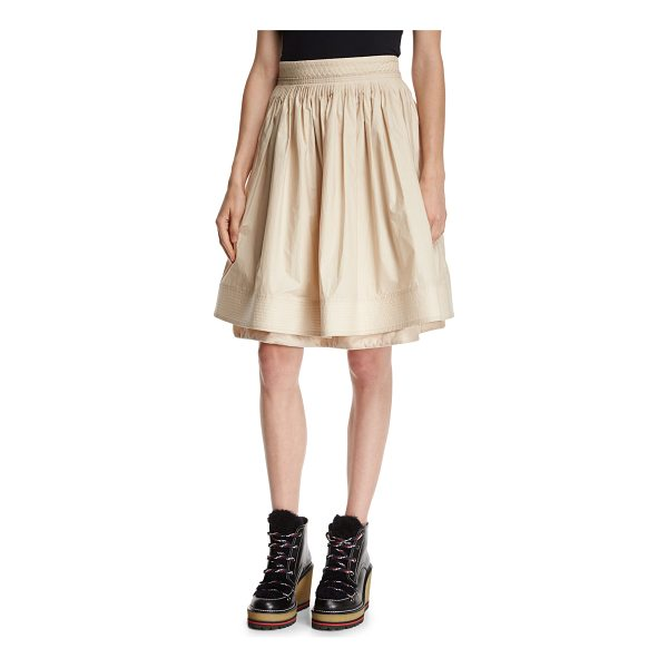 MONCLER High-Waist Pleated Circle Skirt - Moncler pleated skirt with tonal trapunto stitching. Rise...