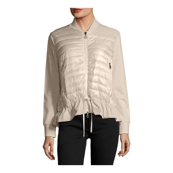 """MONCLER Maglia Knit Puffer Combo Jacket w/ Peplum Hem - Moncler """"Maglia"""" combo knit jacket with quilted puffer..."""