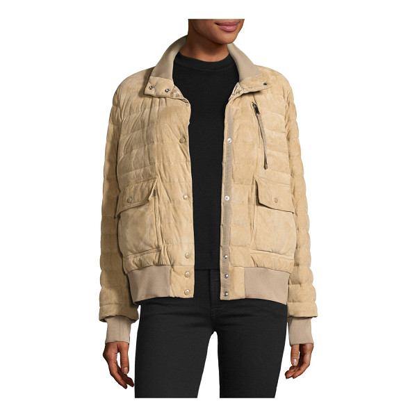 """MONCLER Sile Quilted Suede Jacket - Moncler """"Sile"""" jacket in sheep suede with ribbed trim...."""