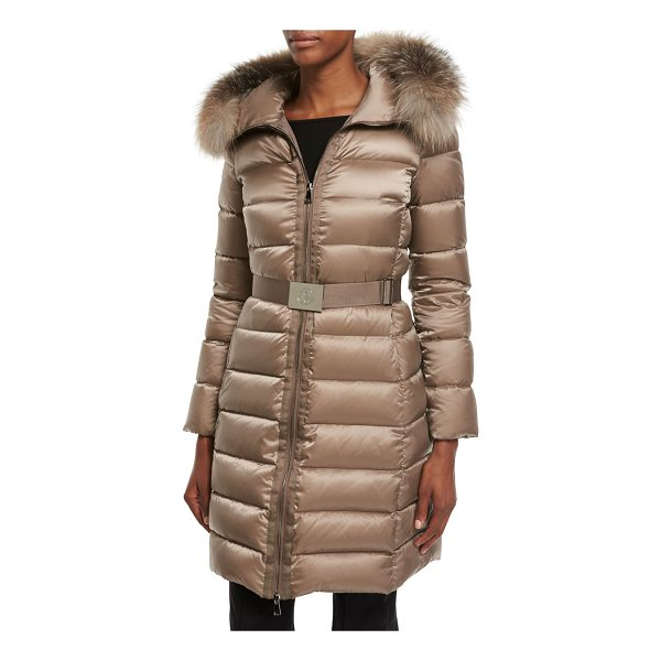 "MONCLER Tinuviel Shiny Quilted Puffer Coat w/Fur Hood - Moncler ""Tinuviel"" shiny quilted puffer coat. Hooded..."