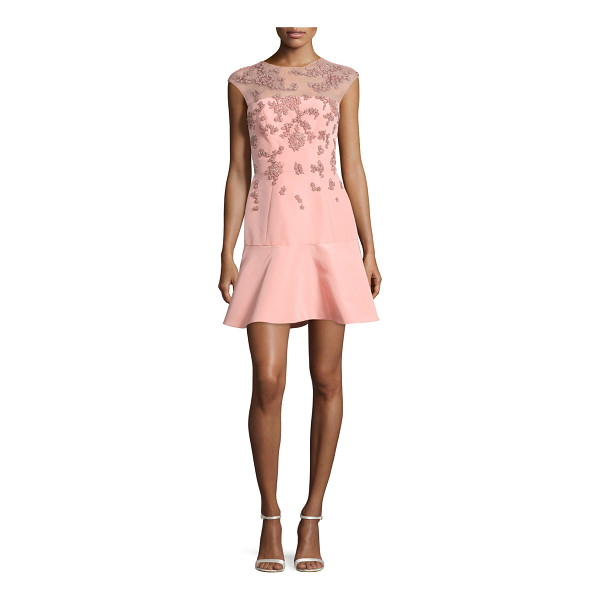 MONIQUE LHUILLIER BRIDESMAIDS Beaded Cap-Sleeve Illusion Dress - Monique Lhuillier dress with illusion yoke and scattered...