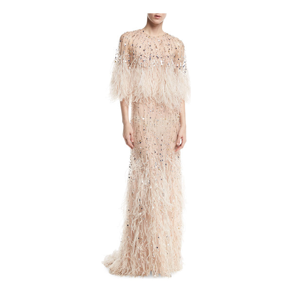 MONIQUE LHUILLIER BRIDESMAIDS Beaded Ostrich Feather Gown - Monique Lhuillier beaded tulle gown with cascading ostrich...
