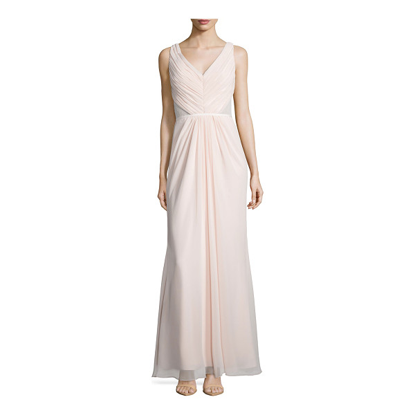 MONIQUE LHUILLIER BRIDESMAIDS Sleeveless Ruched Bodice Lace Back Dress - Monique Lhuillier Bridesmaids chiffon gown with lace back....