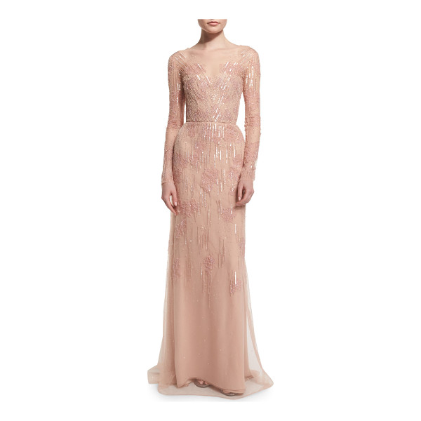 MONIQUE LHUILLIER BRIDESMAIDS Long-sleeve embellished charmeuse column gown - Monique Lhuillier embellished mesh illusion gown. V...