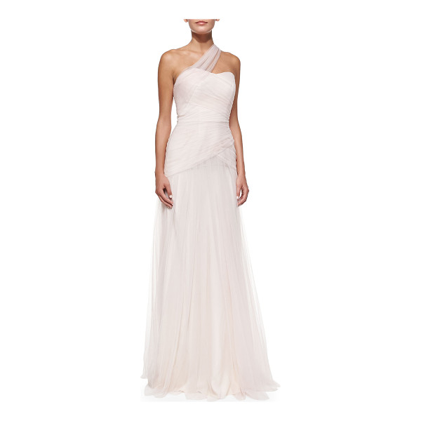 MONIQUE LHUILLIER BRIDESMAIDS One-Shoulder Draped Tulle Gown - Poly tulle gown by ML Monique Lhuillier. Approx....
