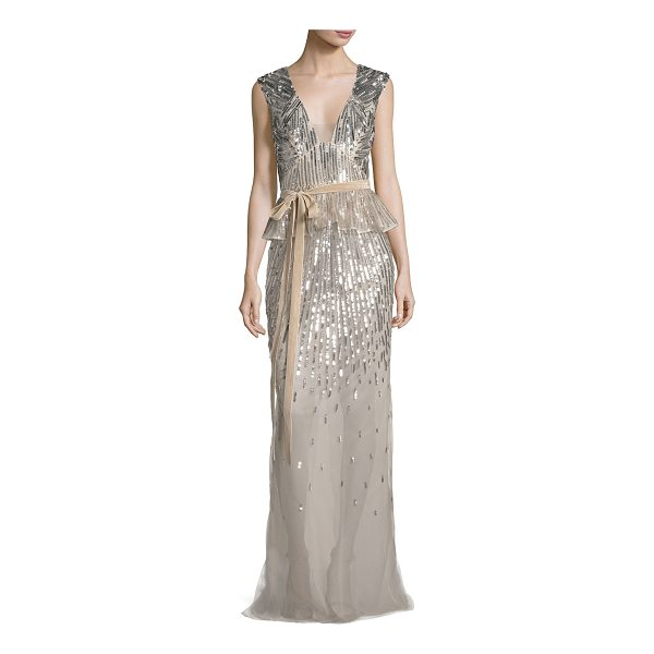 MONIQUE LHUILLIER BRIDESMAIDS Sequined V-Neck Peplum Gown with Velvet Belt - Monique Lhuillier silk chiffon gown with metallic degrad...