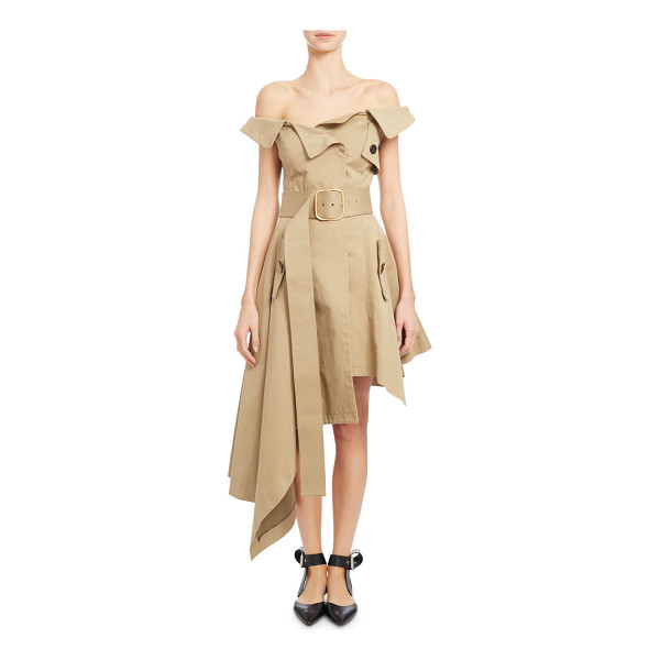 MONSE Off-the-Shoulder Belted Asymmetric Dress - Monse canvas trench-inspired dress. Folded off-the-shoulder...