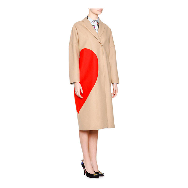 MSGM Heart wool-blend coat - Enlarged heart eclipses side of wool-blended MSGM coat....