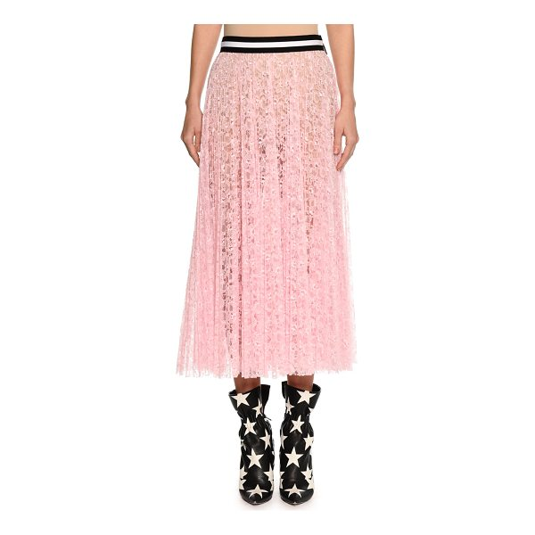 MSGM Lace A-Line Midi Skirt - MSGM sheer lace skirt. Striped waistband. A-line...