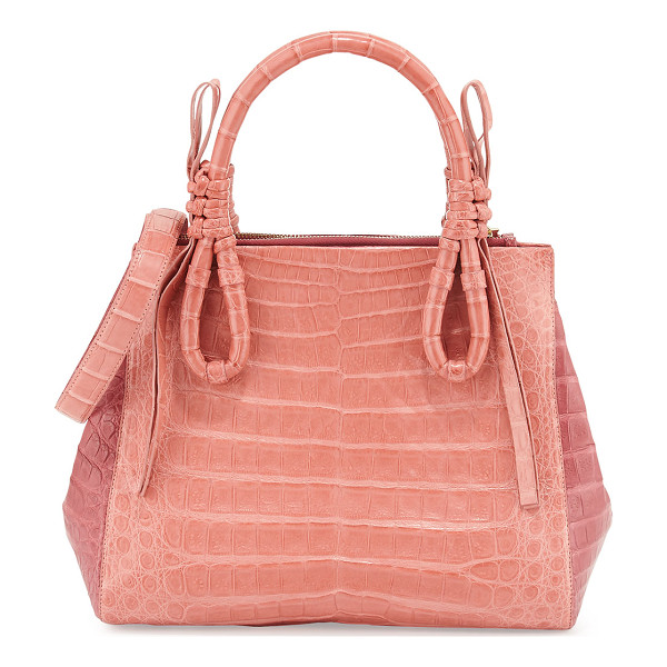 NANCY GONZALEZ Crocodile Medium Knotted Top-Handle Bag - Nancy Gonzalez colorblock satchel bag in signature Caiman