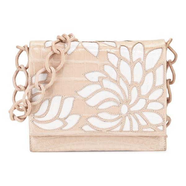 NANCY GONZALEZ Gio Laser-Cut Flower Crocodile Crossbody Bag - Nancy Gonzalez signature Caiman crocodile crossbody with...