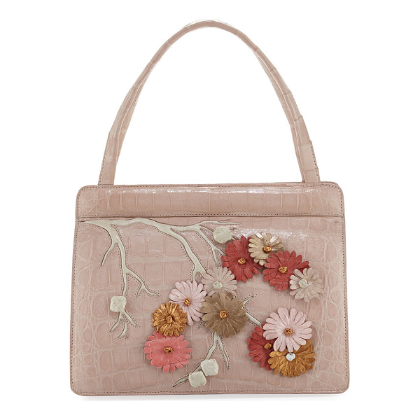 NANCY GONZALEZ Small Cherry Blossom Top-Handle Bag - Nancy Gonzalez signature Caiman crocodile tote bag with