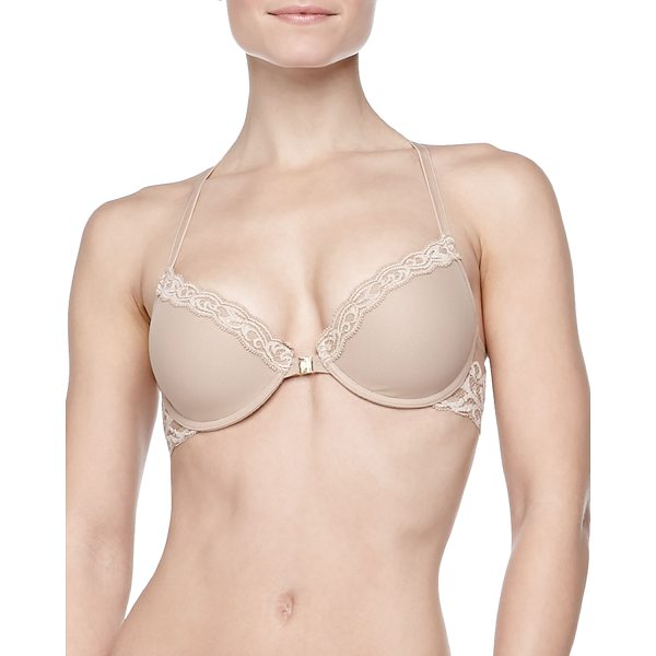 NATORI Feathers Front-Close Racerback Bra - From the Natori Feathers Collection. Sheer contour cups...