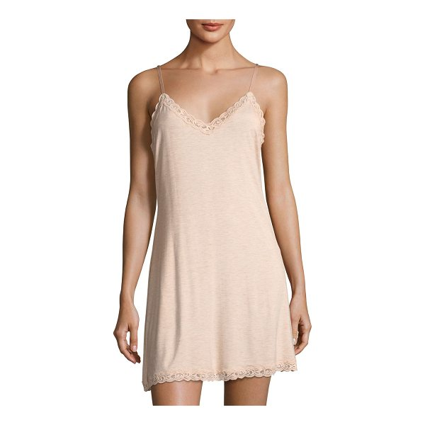 """NATORI Feathers Lace-Trim Chemise - Natori """"Feathers"""" chemise with lace trim. Approx. 37""""L from..."""